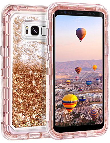 Coolden Floating Glitter Case for Galaxy S8 Plus, Luxury Sparkle Bling Quicksand Cover Shockproof Bumper Dual Layer Anti-Drop PC Frame TPU Back for Samsung Galaxy S8 Plus (Light Coffee)