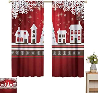 Mozenou Christmas, Customized Curtains, Winter Holidays Theme Gingerbread House with Trees and Snowflakes Artwork Print, Blackout Window Curtain Red White