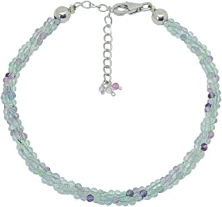 Women's Sterling Silver Faceted Rondelle Beads Gemstone Bracelet Fine Jewellery Gift Box