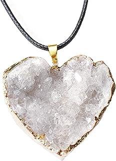 BMBN Hanger, natuurlijk mooi wit kwarts kristal gepolijst hart natuursteen hanger voor vrouwen mannen meisjes jongens wit