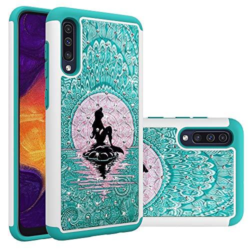 Galaxy A50 Case, Galaxy A50 Case for Girls Women, Cute Mermaid with Moon Pattern Heavy Duty Shockproof Studded Rhinestone Crystal Bling Hybrid Case Silicone Armor for Samsung Galaxy A50