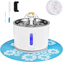 Cat Water Fountain Stainless Steel, 81oz/2.4L Pet Water Fountain with Intelligent Pump and LED Indicator for Water Shortag...