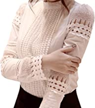 XuBa Women Blouses Slim Long-sleeved White Shirt Lace Hook Flower Hollow Standing Collar Tops