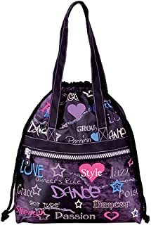 Danshuz Womens Girls Purple Front Zipper Dance Attitude Tote Bag