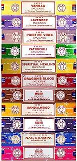 Set of 15g Nag Champa, Lavender, Patchouli, Musk, Reiki, Rose, Positive Vibes, Spiritual Healing, Dragon Blood, Sandalwoo...