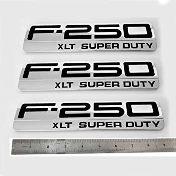 3x OEM F-250 Lariat Super Duty Side Fender Emblems Badge 3D logo Replacement for F250 Lariat Pickup Chrome Black Sanucaraofo