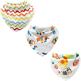 JZLPIN Baby Dribble Bib, Toddler Bandana Bib 3 Packs Super Absorbent Cotton Feeding Bibs