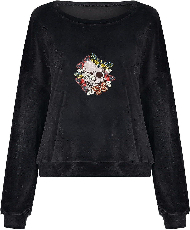 Halloween Womens Oversized Sweatshirt Graphic Trendy Loose Long Sleeve Fleece Skull Graphic Pullover Cropped Top Tee
