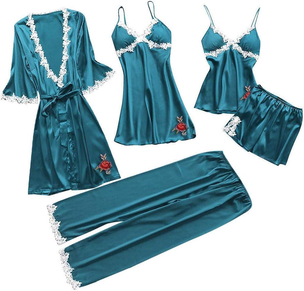 Fxbar, Women Sexy Lace Lingerie Nightwear 5PC Suit Sexy Briefs Babydoll Sleepwear Dress Long Gown