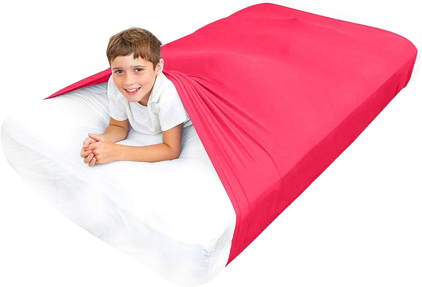 Special Supplies Sensory Bed Sheet for Kids Compression Alternative to Weighted Blankets - Breathable, Stretchy - Cool, Comfortable Sleeping Bedding (Red, Queen)