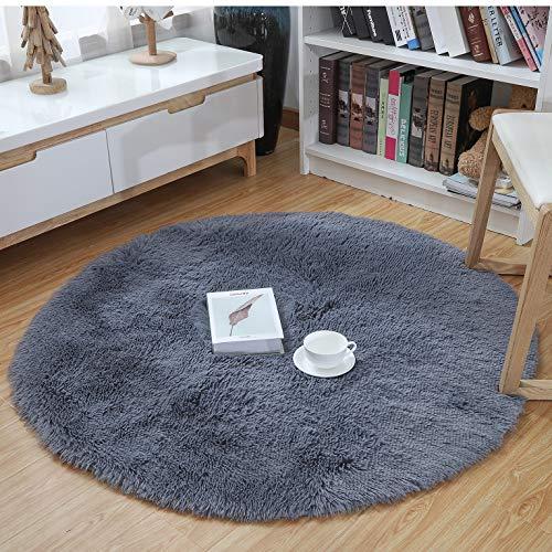 YJ.GWL Ultra Soft Round Fluffy Area Rugs for Girls Bedroom Anti-Slip Shaggy Nursery Rug Kids Room Carpets Cute Children Play Mat 4 Feet Grey