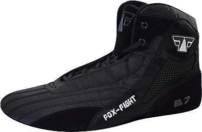 FOX-FIGHT B7 Sambo, scarpe professionali di alta qualità, con suola in pelle scamosciata, Nero (Total black), 42 EU