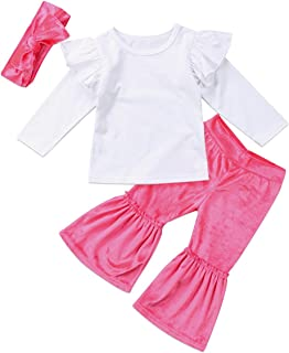 2999d71be8cd7 Kids Toddlers Baby Girls Ruffle Outfit Set Long Sleeve T-Shirt Top Velvet  Flare Pants