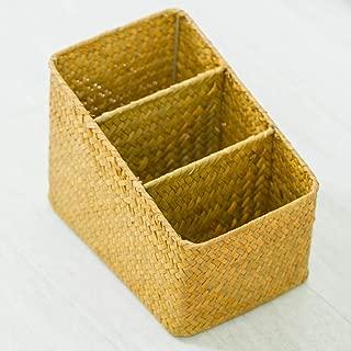 XXLJT Handmade Storage Box Living Room Coffee Table TV Cabinet Remote Control Desktop Storage Box Straw Storage Basket Rattan Garden Box