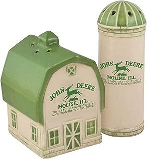 Collectible Vintage John Deere Logo Barn And Silo Salt And Pepper Shaker Set