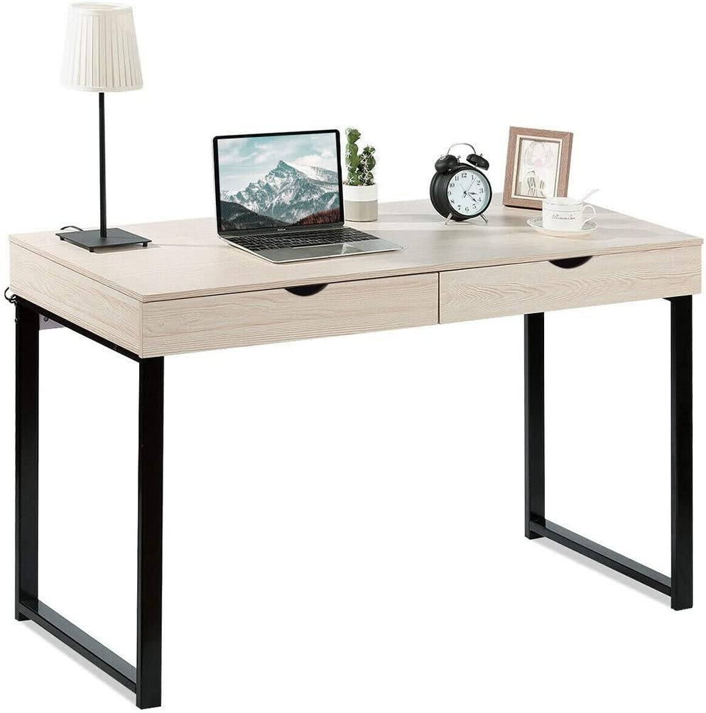 Tengma White Writing Computer Desk with 新作続 マート Storage for Drawers Ho 2