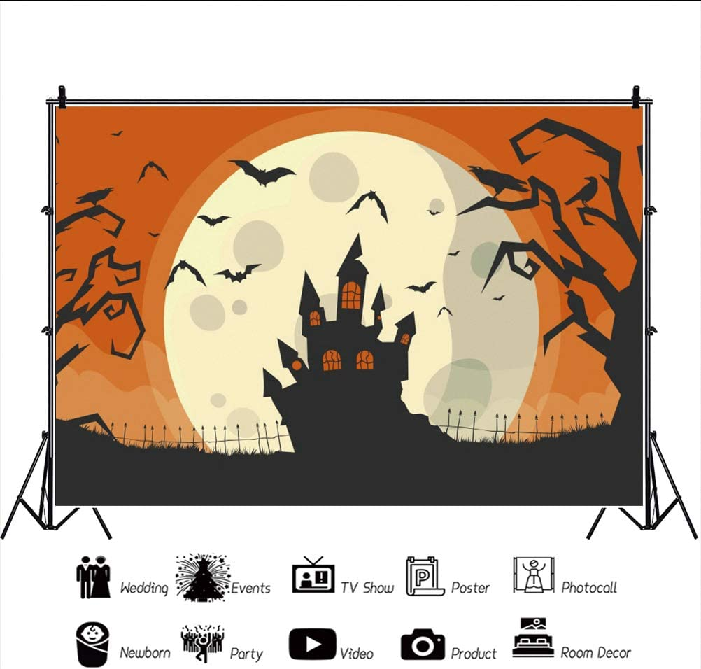 OERJU 5x3ft Happy Halloween Backgrounds Haunt Castle Scary Trees Background Trick or Treat Party Kids Baby Shoot Poster Baby Shower Decorations Party Birthday Banner Portrait Photo Props