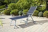 greemotion Rollliege Monza Comfort silber/schwarz, Gartenliege 8-fach verstellbar, platzsparend zu verstauen, Liege mit extra breiter Liegefläche, Artikelmaße: ca. 152 x 77 x 118 cm - 2