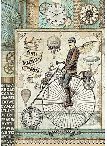 STAMPERIA INTERNATIONAL, KFT DFSA4371 Reispapierpackung A4 VF, Voyages Fantastiques Retro-Fahrrad, Einheitsgröße