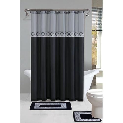 Home Dynamix Designer Bath Polyester 15 Piece Bathroom Set Gray Black