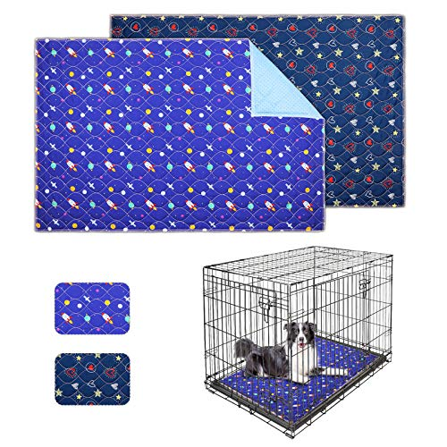 Uteuvili 2 PCS Dog Crate Liners Washable Pee Pads Dog Crate Pads Mats Bed Super Absorbent Waterproof Reusable Anti Slip Fit 42 Inch Crate(41