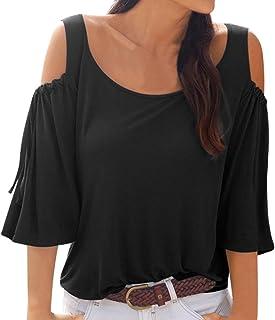 Femme Femmes plissée tissus Off the épaule Bardot à mancherons T Shirt Top