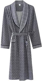 YONGYONG 男性の春と秋の冬の灰色の綿の長袖の薄いバスローブホームルーズロングバスローブ