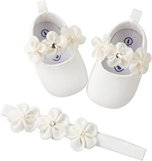 reputable site 38340 3099d Kuner Toddler Girls Mary Jane Shoes Baby Girls Christening Dance Shoes  Ballerina Slipper with Bow Ribbon