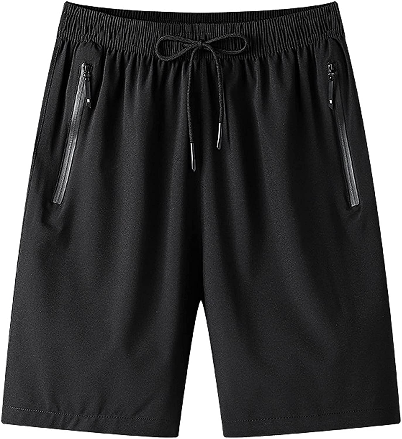 Men's Gym Workout Shorts Quick Dry Bodybuilding Lightweight Athletic Training Running Hiking Jogger with Zipper Pockets