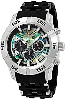 Invicta Men's 50mm Sea Spider Collection Chronograph Black Polyurethane Bracelet Stainless Steel Watch