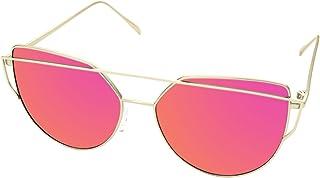 773c411bee LooKLooK Gafas de Sol de Moda Estilo Ojos de Gato para Mujer - Diseño  Fashion y Elegante con Montura Metálica y Lentes Planas Antirreflejos de  Espejo no ...