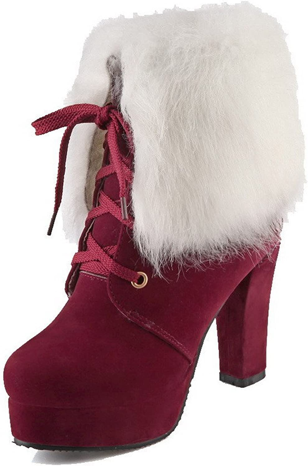 WeiPoot Women's Frosted Lace-up Round Closed Toe High-Heels Low-top Boots