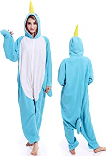 Unisex Narwhal Onesie Adult Pajamas Animal Halloween Costume Cosplay One Piece Sleepwear for Women Men - coolthings.us