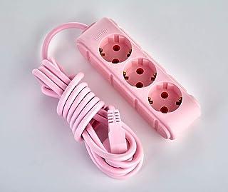 Cable alargador de 3 vías, 3 m, tipo F, multicolor, rosa, azul, fucsia, amarillo suave, decoración negra