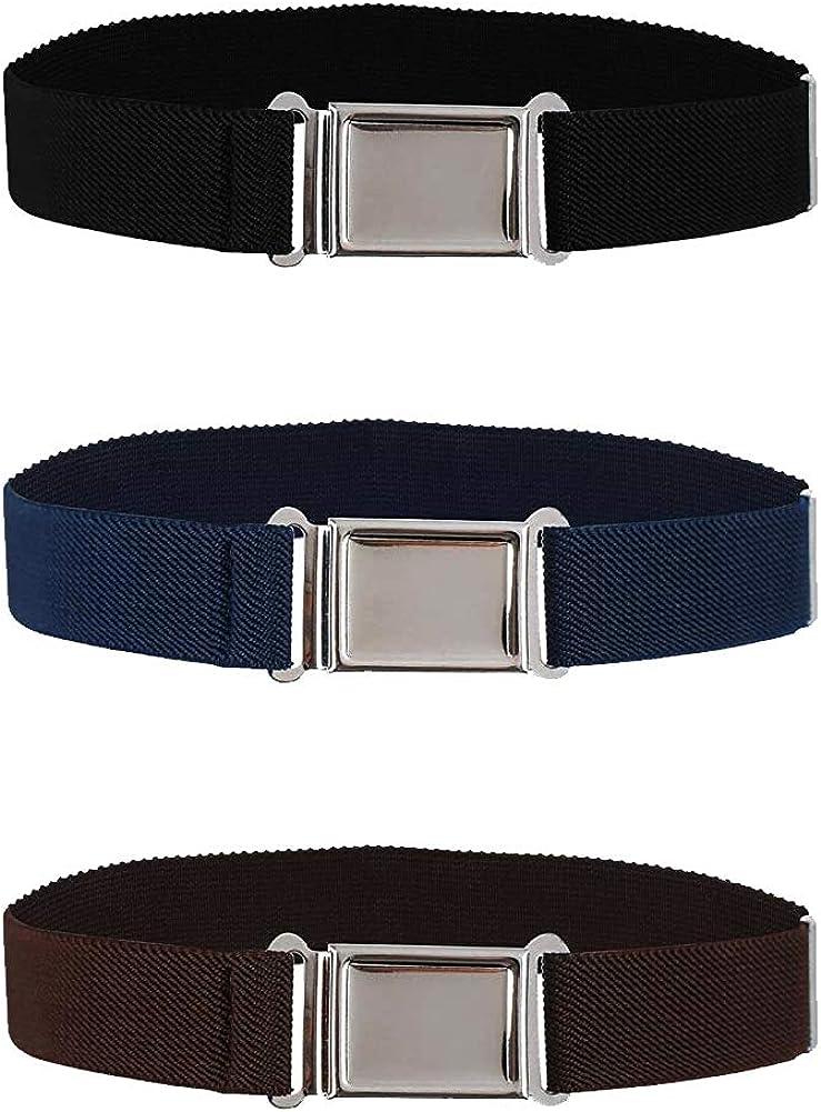 Children's Belts 3pcs Elastic Bands For Boys And Girls Monochrome Trousers Belts Adjustable Length Belts (Black, Brown, Navy Blue)