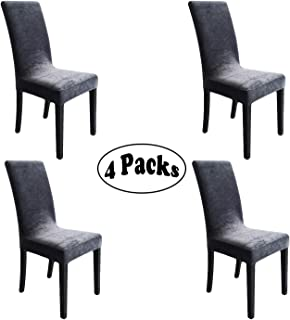 SheYang Silver Fox Cashmere Fabric Stretch Removable Washable Dining Room Soft Chair Cover Protector Seat Slipcovers Set of 4 (Silver Fox Cashmere-Grey, 4)
