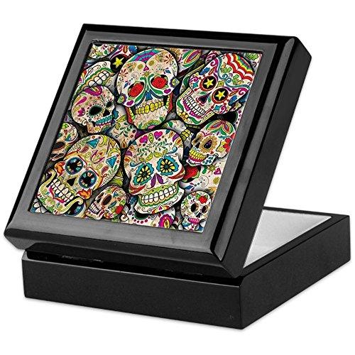 CafePress Sugar Skull Collage Keepsake Box, Finished Hardwood Jewelry...