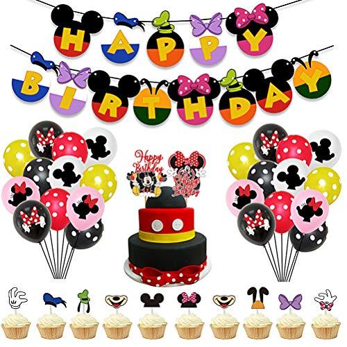 38 Piezas Mickey Minnie Party Decorations ZSWQ-Decoraciones de Cumpleaños de Mickey Minnie Mouse Pancarta de Feliz Cumpleaños, Globos y Adornos para Tartas, para Cumpleaños, Fiesta, Baby Shower