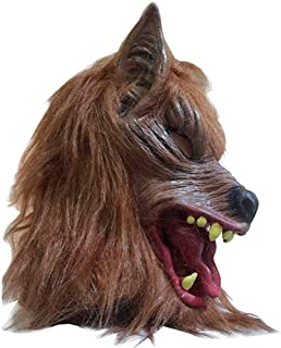 SUPOW Halloween Wolf Mask, Costumes Creepy Scary Full Face Werewolf Mask for Halloween and Cosplay Costume Party Horror Nights (Yellow)