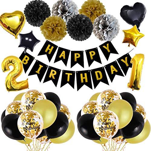 Yidaxing 48PCS 21 Globos Cumpleaños Decoracione Oro Negro,Fiesta de Cumpleaños de Oro Negro Globo de Látex oro Negro Decoración de Fiestas