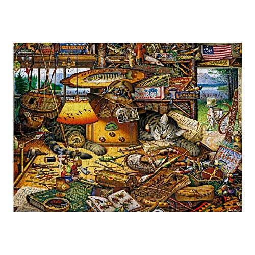 Wooden Puzzle 500 Pieces Puzzles, Jigsaw Puzzles-Charles Wysocki Max in The Adirondacks, Educational Intellectual Decompressing Fun Game for Kids Adults Toy 20.5'x15' inch
