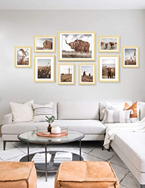 ArtbyHannah 9 Pack Framed Highland Cow Art and Farmhouse Wall Decor Picture Frame Set for Gallery Frame Wall Kit with Rustic