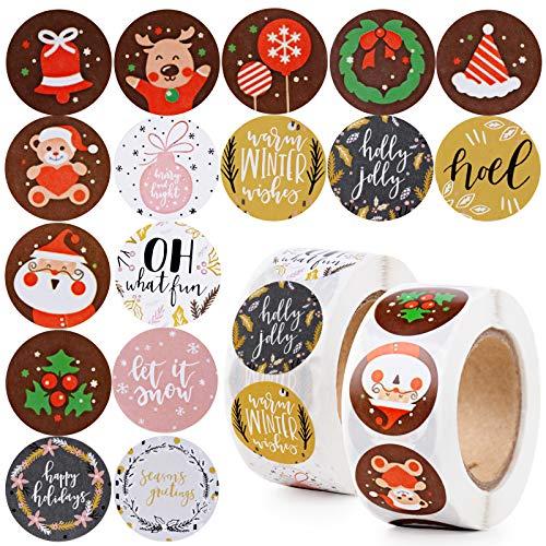 1000pcs 2,5cm Pegatinas Navidad Papel Etiquetas Adhesivas Redondas Decoración Cajas Bolsas Regalos Fiesta Navidad