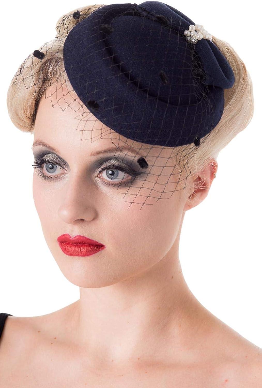 Dancing Days Vintage 40's 50's Fascinator Net Bow Pearl Judy Wedding Hat