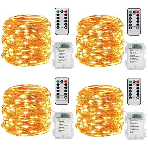 Guirlande lumineuse à Pile,[Lot de 4] 10m 100 LEDs Fonction Minuterie avec Télécommande IP65 Etanche,fil de cuivre avec 8 modes de lumière pour Décoration intérieur et extérieur (chaud)