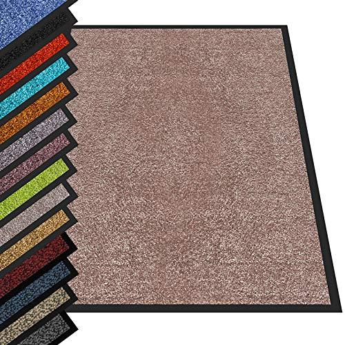 etm® Schmutzfangmatte - Fußmatte in vielen Größen - Türmatte Fußabstreifer für Haustür innen und außen (Beige/Rosé, 90x120 cm)