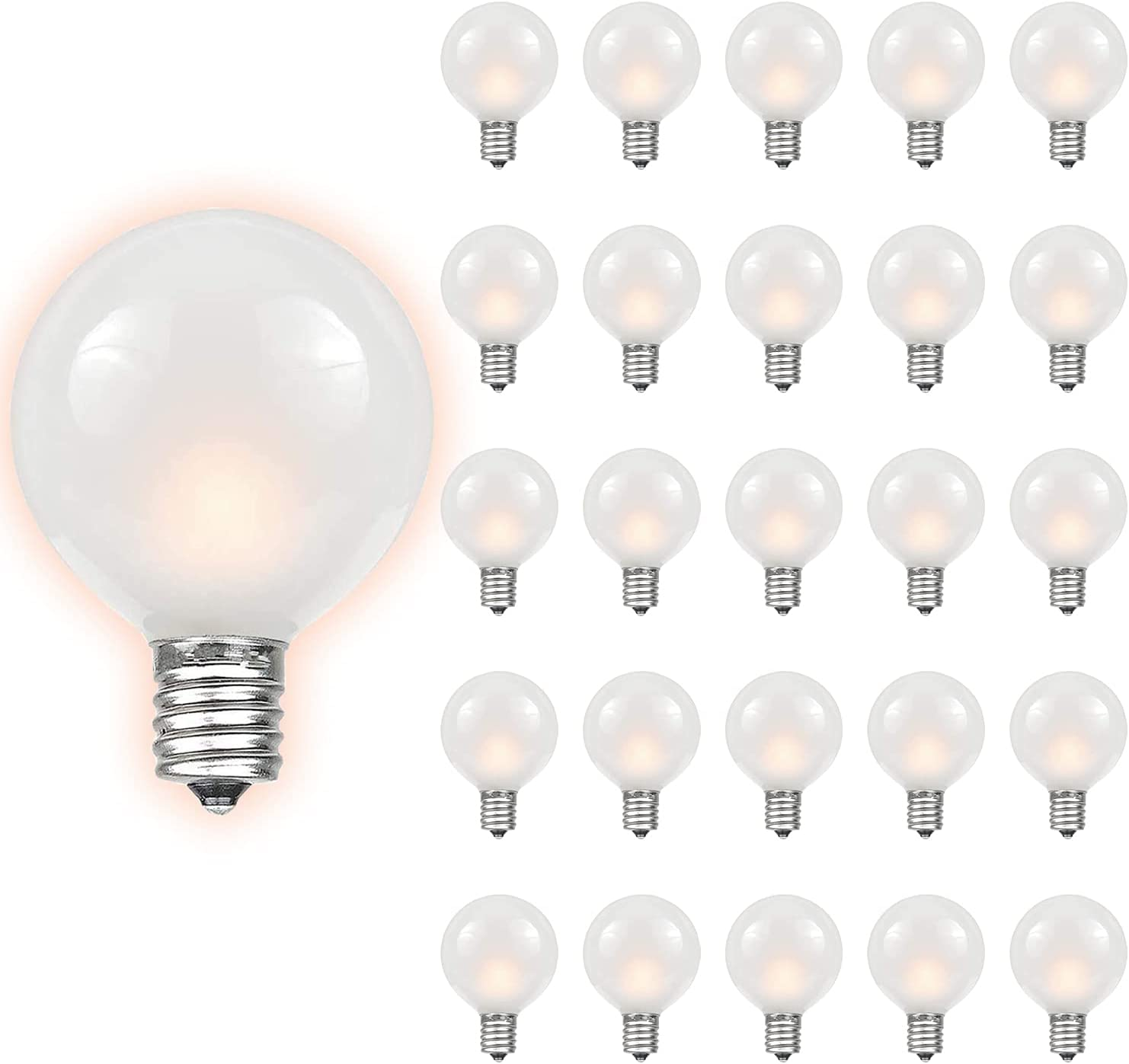 Dr.BeTree G40 Frosted White Bulbs 25 Pack Outdoor Globe Replacement Bulbs with Frosted White, 5 watts, 120 Volts, E12 Base