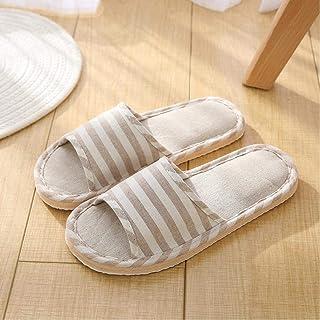 New Indoor Floor Flat Shoes Linen Slippers Home