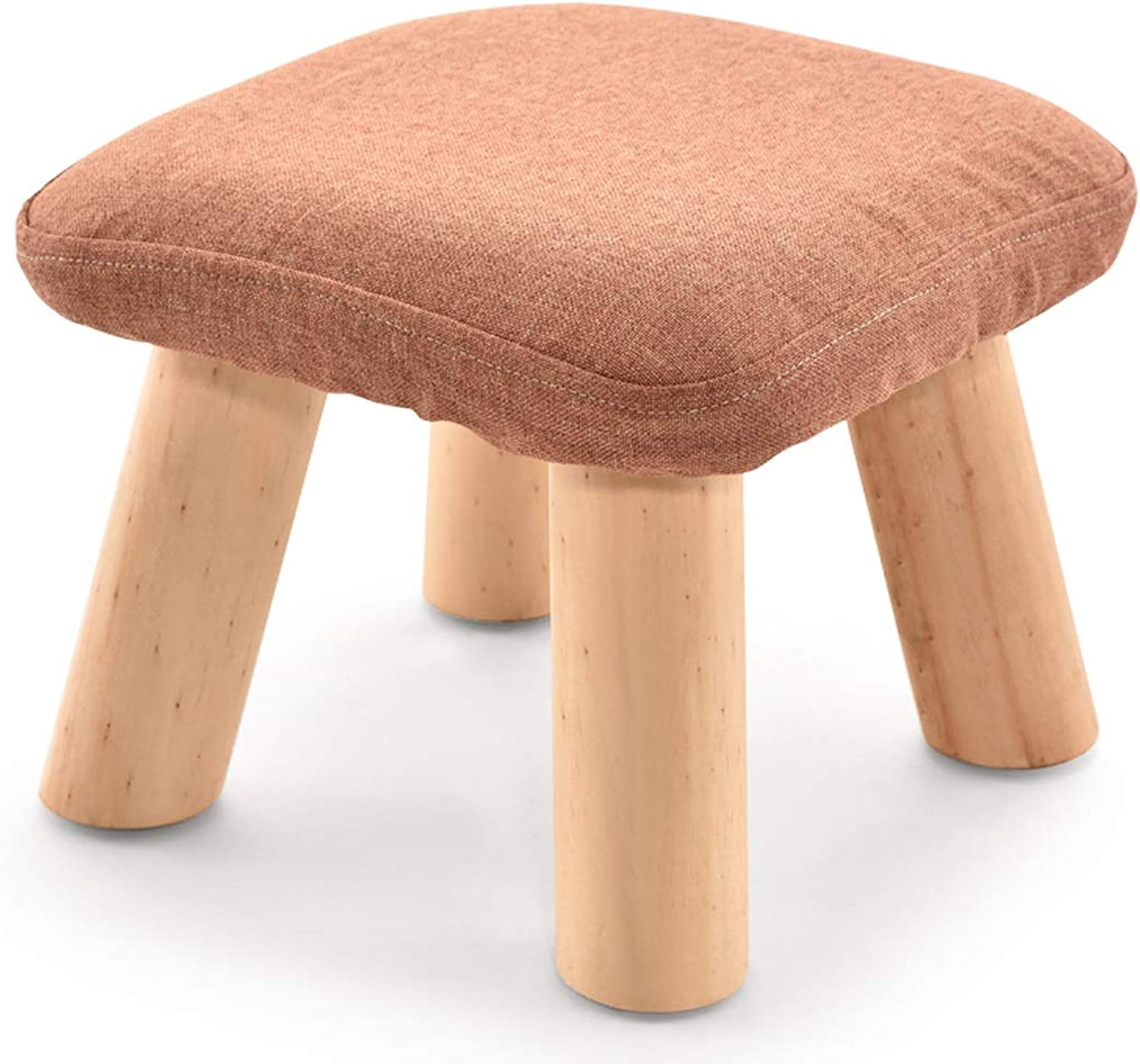 LRW Small Stools, Solid Wood Sofa Stools, Cloth Stools, Stools, Stools, Low Stools, Fashionable shoes, Changing shoes Stools, orange