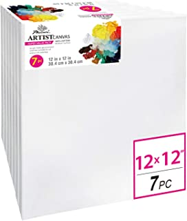 PHOENIX Pre Stretched Canvas for Painting - 12x12 Inch / 7 Pack - 5/8 Inch Profile of Super Value Pack for Oil & Acrylic Paint